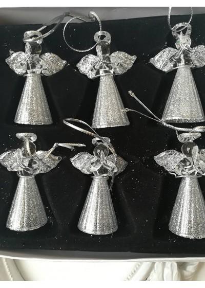 Сребърни ангелчета зa подарък за коледа и нова година комплект 6 броя