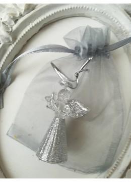 Стъклено ангелче със сребърен брокат и торбичка органза - новогодишен подарък за колеги 1 брой