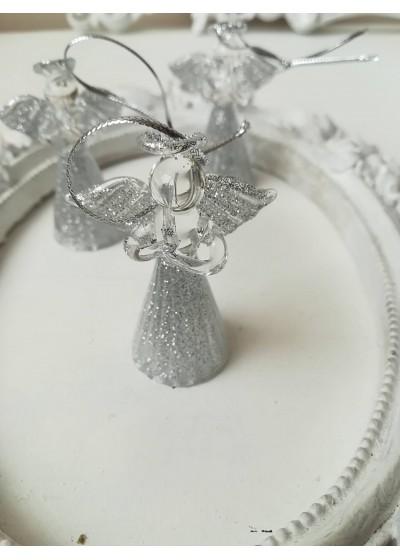 Стъклено ангелче със сребърен брокат - коледен подарък за колега 1 брой