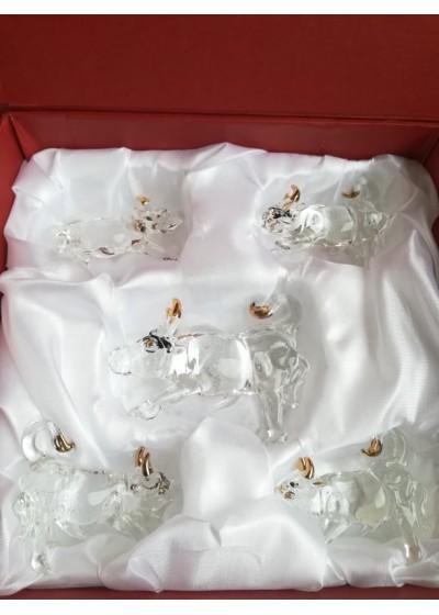 Луксозен кристален комплект 5 ръчно изработени кристални бика за късмет през 2021 година позлатени