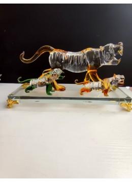 Луксозен комплект 5 цветни ръчно изработени кристални статуетки Тигри за подарък на колеги през 2022 - Годината на Тигъра