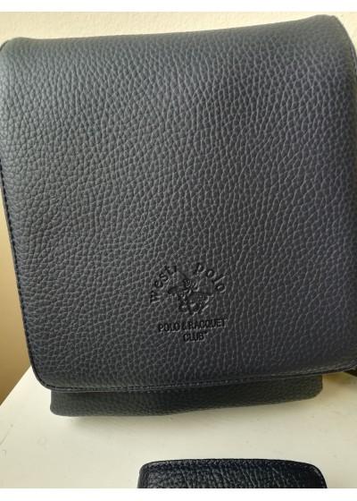Изключително качествена мъжка чанта eстествена кожа West Polo тъмно синьо