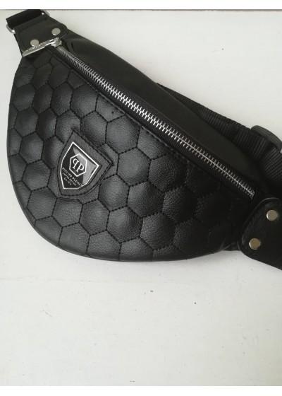 Модерна черна мъжка чанта за кръста Philipp Plein модел M02