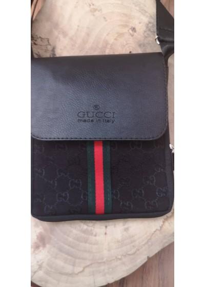 Мъжка чанта през рамо с щампа Gucci от плат и кожа