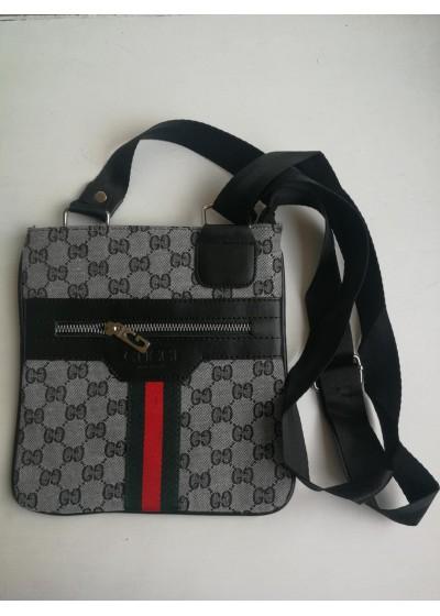 Стилна мъжка чанта през рамо - Gucci в сиво и черно