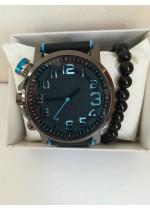 Комплект спортен мъжки часовник и гривна шлифован Оникс в подаръчна кутия