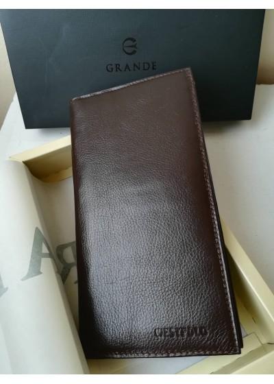 Луксозен портфейл естествена кожа за много видове валута голям размер цвят кафе