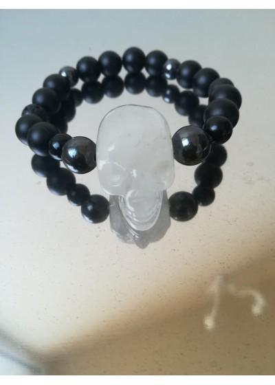 Мъжка гривна естествени камъни с череп от планински кристал by Rosie Concept