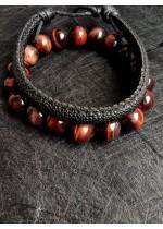 Подарък за мъж комплект гривни от Червено тигрово око и естествена кожа модел Luck