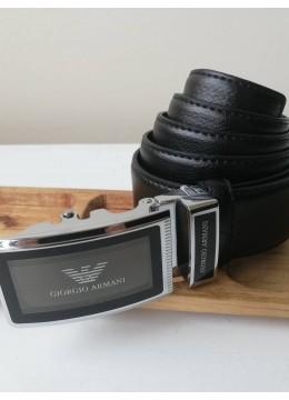 Мъжки официален бизнес кожен колан с автоматична холлограмна стоманена тока Armani и подаръчна чанта