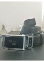 Мъжки колан естествена кожа с автоматична тока с емблема Gucci