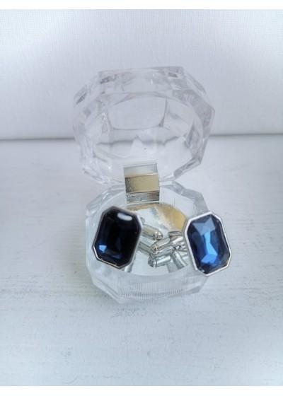 Мъжки ръкавели с кристал в тъмно синьо