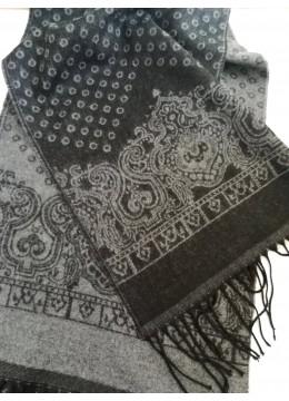 Луксозен мъжки зимен двулицев шал от финна вълна в черно и сиво Gino Rossi