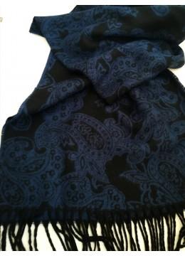 Красив мъжки фин вълнен шал в черно и синьо by Gino Rossi