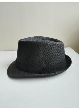Мъжка лятна шапка тип федора в черно