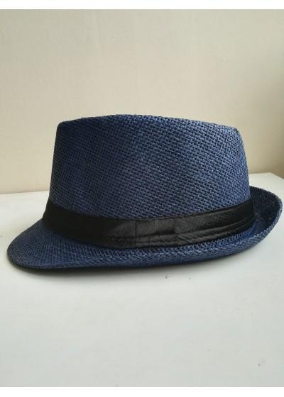 Стилнa мъжка федора в тъмно синьо с черна лента