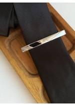 Елегантна мъжка игла за вратовръзка в сребристо с черно модел Abstract