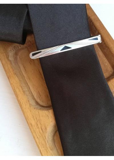 Красива игла за вратовръзка в сребристо и черно модел Black Touch