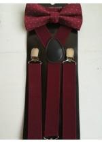 Мъжки комплект тиранти и луксозна папионка в цвят Бордо