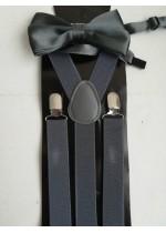 Комплект тиранти и папийонка в тъмно сиво