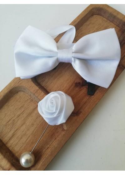 Комплект папийонка и бутониера за младоженец в цвят бяло