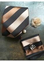 Комплект вратовръзка за младоженец, бутониера, ръкавели и кърпичка в светло кафяво и бежово