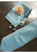Комплект за младоженец вратовръзка, ръкавели и кърпичка в светъл тюркоаз и бяло