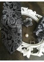 Комплект за младоженец Официална Вратовръзка с кърпичка, ръкавели и бутониера в сребърно