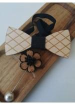 Комплект за младоженец - дървена папийонка и бутониера