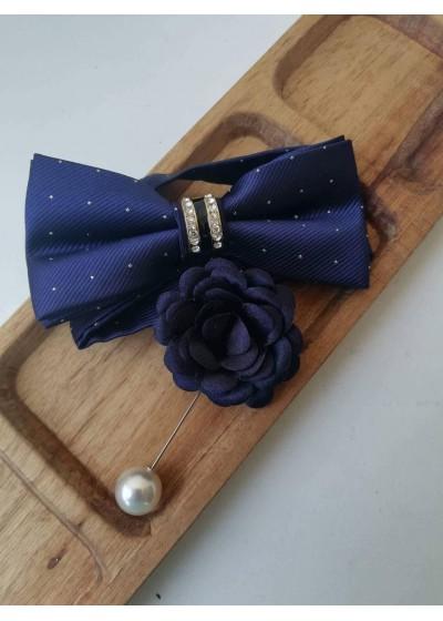 Комплект за младоженец - бутониера и папийонка в тъмно синьо на точици в сребърно