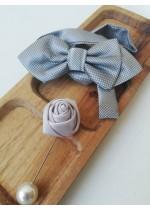 Комплект за младоженец - бутониера и папийонка в сиво