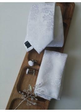 Луксозен комплект за младоженец- вратовръзка, дизайнерска бутониера, ръкавели и кърпичка в бяло