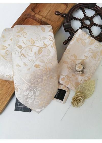 Комплект за младоженец - вратовръзка, бутониера, ръкавели и кърпичка в екрю и златно