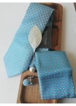 Сватбен Комплект вратовръзка, ръкавели и кърпичка в светъл тюркоаз и бяло