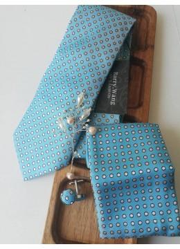Изискан Сватбен Комплект вратовръзка, дизайнерска бутониера, ръкавели и кърпичка в светъл тюркоаз и бяло
