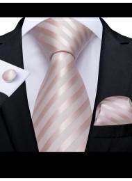 Стилен комплект вратовръзка кърпичка и ръкавели в цвят пепел от роза