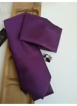 Комплект мъжка вратовръзка кърпичка и ръкавели в тъмно лилаво