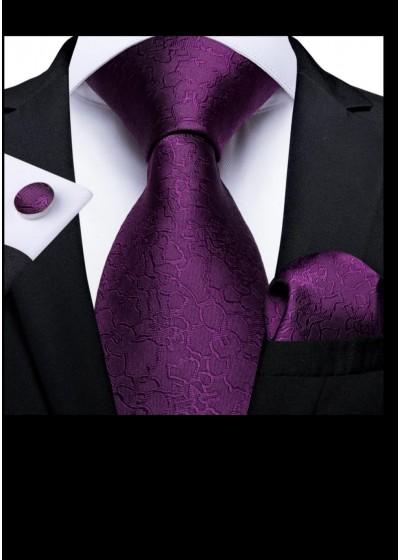 Комплект мъжка вратовръзка, ръкавели и кърпичка в тъмно лилаво