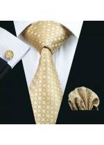 Официален комплект за младоженец и абитуриент от вратовръзка кърпичка и ръкавели в златно