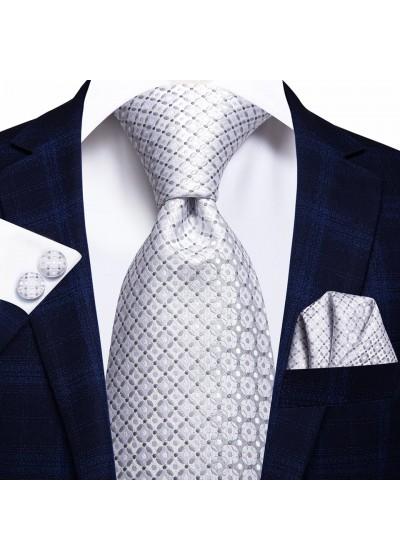 Изискан комплект вратовръзка кърпичка и ръкавели за сватба и бал в бяло и сребристо