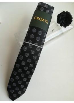 Комплект красива мъжка вратовръзка кърпичка и бутониера в черно и бяло