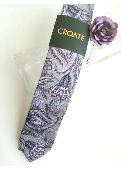 Красив комплект дизайнерска вратовръзка и бутониера бизнес клас в сиво и светло лилаво