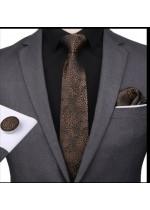 Комплект мъжка вратовръзка, ръкавели и кърпичка в черно и кафяво