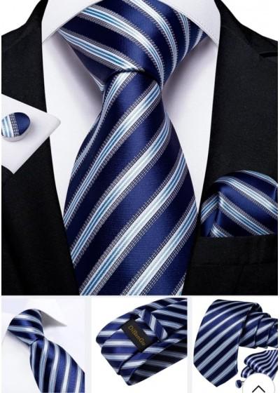 Модерен комплект за младоженец и абитуриент от вратовръзка кърпичка и ръкавели в кралско синьо и бяло
