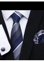 Комплект тънка вратовръзка ръкавели и кърпичка в тъмно синьо и сиво