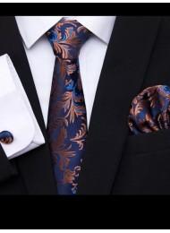 Луксозна тънка копринена вратовръзка в тъмно синьо и бронз комплект с кърпичка и ръкавели