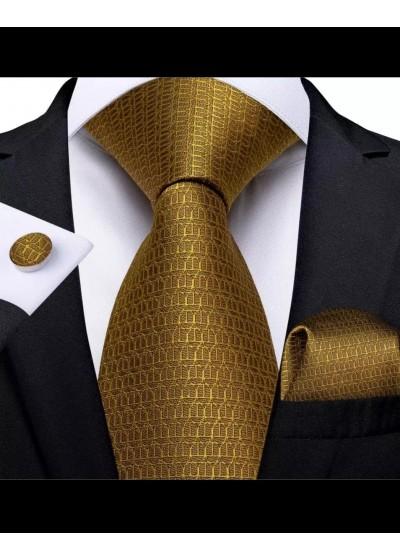 Модерен комплект за младоженец и абитуриент от вратовръзка кърпичка и ръкавели в цвят старо злато