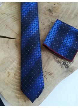 Елегантна мъжка вратовръзка в тъмно и кралско синьо в комплект с кърпичка и бутониера