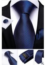 Стилен комплект за младоженец и абитуриент от вратовръзка кърпичка и ръкавели в тъмно синьо