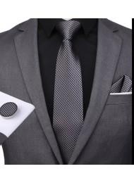 Официална мъжка вратовръзка комплект с кърпичка и ръкавели в тъмно сиво и черно